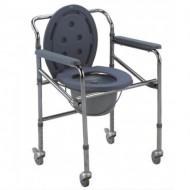 Height Adjustable Commode Chair with Wheels